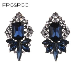 PPG&PGG Wholesale good quality blue crystal earring New glass statement fashion Earings for women