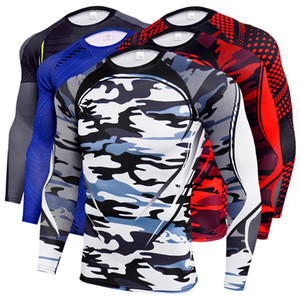 2020 Men Long Sleeve Sport tshirt Training Compression Running T Shirt Fitness Tight Jogging Shirts Gym Sportswear Quick Dry rashgard