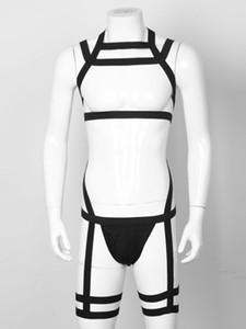 Hommes élastiques Bande Bande Body Harness Harnais Bondage Exotique Jockstraps String Sous-vêtements Lingerie Teddies BodySuits Costumes Clubwearc