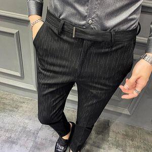 Spring Autumn New Men Casual Pants Korean Slim Stripe Suit Pant Black Blue Dress Pants Perfume Masculino Formal For Men 42