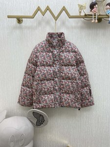 2020 autumn and winter new age-reducing fashion thickened collar color matching floral printed down jacket warm bread coat