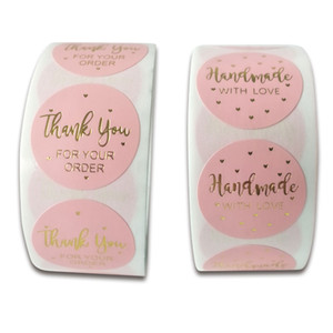 500pcs 1inch Pink Paper Gold Thank You For Your Order Adhesive Label For Box Card Business Baking Packaging Seal Stickers
