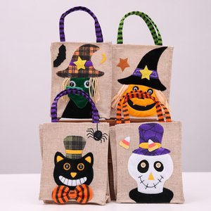 Halloween Gift Canvas Bags Creative Festival Cartoon Pumpkin Witch Pattern Candies Party Favors Gift Bags Party Supplies