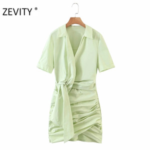 ZEVITY New women fashion solid color knotted pleated shirt dress chic lady short sleeve vestidos casual slim mini dresses DS4286 Z1202