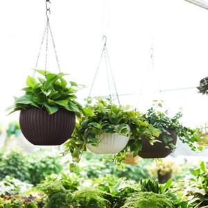 OOTDTY HERMOSA REDONDA POTENCIA POT POT POTINA Cadena de plantas tejidas de mimbre tejidas de mimbre Plantadores de balcón Decoración Y200723