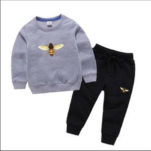 Ayı Logo Marka Lüks Tasarımcı Bebek Sonbahar Giysileri Set Çocuklar Erkek Kız Uzun Kollu Hoodie Ve Pantolon 2 adet Suits Moda Eşofman Kıyafetler 2-8 T