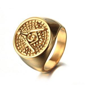 The best quality hot sale Stainless Steel Men's Gold Silver Black Masonic Jewelry Freemason Mason Signet Ring