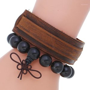 NIUYITID Men Vintage Brown Leather Bracelet & Bangle Women Wooden Black Bead Charm Braclet Jewelry1