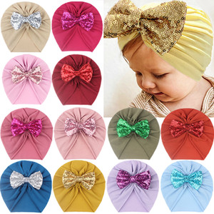 Hot selling baby imitation cotton warm pure color hairband headgear children sequin bow scarf kids hairband bling hair accessory