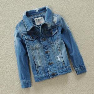 Куртки весенние пиджаки для мальчиков и девочек джинсовая куртка пальто отверстие детская одежда хлопчатобумажная детская одежда джинс 2-13т