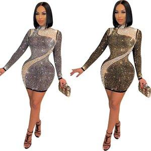 Women O Neck Diamonds Dress Long Sleeve Bodycon Mini Night Club Dresses Sexy Mesh Patchwork Party Club Elegant Vestidos