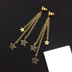 2020 new brand letter D black five pointed star retro star tassel long earrings Christmas gift