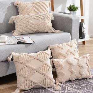 Borlas Cobertura de almofada decorativa 45x 45cm / 30x50cm sofá bege travesseiro capa handmade casa decoração para sala de estar cama