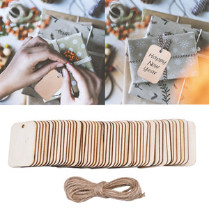 Rectangle Shaped Natural Wood Slice Rope for DIY Wood Carfts Wedding Birthday Gift Tag Christmas Hanging Decor Pendant