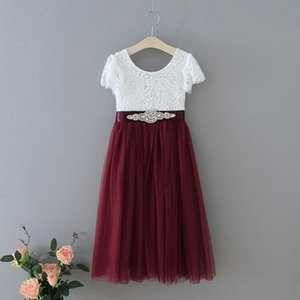 Summer Baby Girl Princess Dress Eyelash Lace Straight Tulle Dress For Wedding Party Baby Girl Clothes E13844 F1202