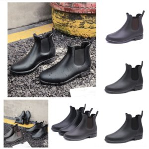 oQ2C8 Original Style Mid-tube New Lady Cowhide Rain Boots Stitching Flying Slip Knit Socks Adult Shoes Womenholder Ankle Boot