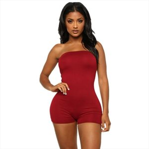 Womens Holiday Mini Playsuit Strapless Bodycon Tube Body Top Ladies Jumpsuit Romper Summer Beach Bodysuits Size 6 14