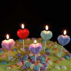 Diamante Love Birthday vela creativa corazón en forma de corazon sin humo vela para el cumpleaños banquete propuesta matrimonio boda fiesta gwa2482