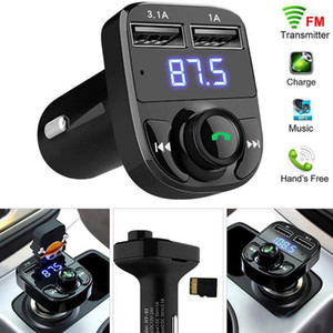 X8 FM Sender Aux Modulator Car Kit Bluetooth Freisprecheinrichtung Car Audio Receiver MP3-Player mit 3,1A Schnellladungs-Dual-USB-Car C mit Kasten