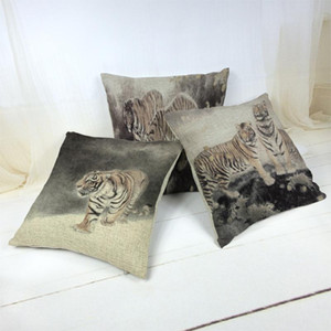 Ink Painting Style Animal Landscape Pattern Cushion Cover Minimalist Home Decoration Car Sofa Throw Pillowcase Cotton And Linen