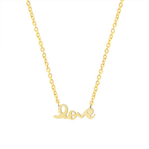Romantic Love Letter Necklace Women Gold Color Erkek Kolye Choker Chain Stainless Steel Necklace Pendant Valentine Day Gift