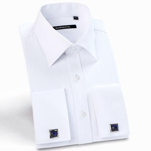 Mens French Cuff Long Sleeve Solid Dress Shirt With Cufflinks White Formal Wedding Male Tuxedo Shirts