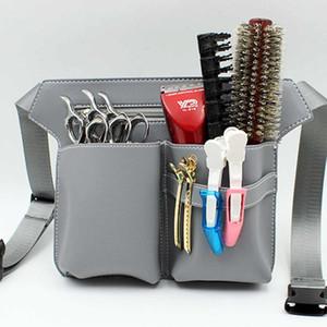Hair Scissor Bag Clips Comb Case Hairdressing Barber Hair Scissor Holster Pouch Holder tool Salon Waist pack Belt PU Leather Bag 201013