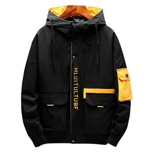 Hip Hop Jacket Coat Mens Hooded Windbreaker Jacket New Casual Male Jacket Coats Streetwear Multi-pocket 899 201116