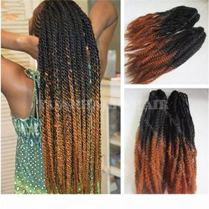 Stocking 20in fold two tone color synthetic kinky twist braid ombre marley braiding hair free shipping