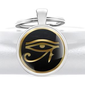 Clássico de alta qualidade Egito Antigo Eye of Chains Abóbada de vidro Horus chave Homens Mulheres Key Vintage fob Jóias Acessórios presente