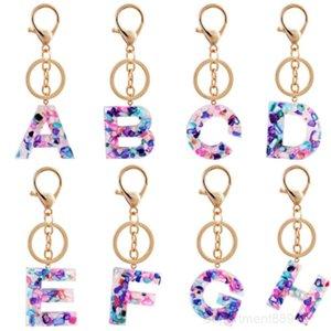 Letter keychain Alphabet keyring Wristlet Semitransparent Colorful Pendant key Chain Organizer Holder Cartoon Accessories OWD2954