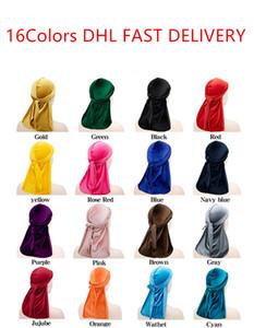 16 Renkler Lüks Unisex Kadife Durags Bandana Türban Şapka Korsan Kapaklar Peruk Doo Durag Biker Şapkalar Kafa Korsan Şapka Headwrap CZ120101