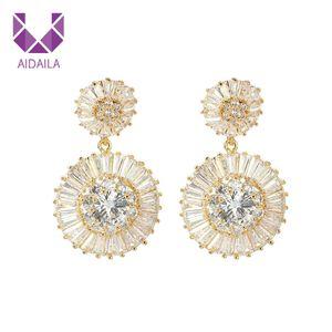 Dangle Drop Earrings Noble Wedding Jewelry Luxury Clear + Cubic Zircon Bridal Earrings Wholesale Female