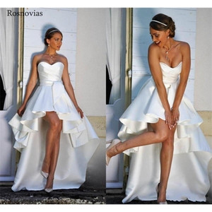 New High Low Boho Wedding Dresses 2020 Strapless Lace Up Back Hi-Lo Modest A Line Beach Bridal Gowns Vestido De Novia Cheap Q1113