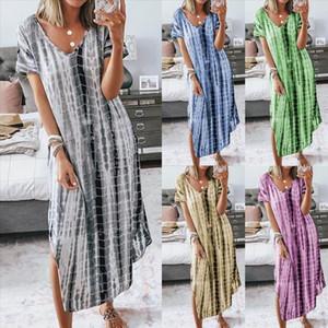 Women Stripe Plus Size Maxi Dress For Fashion Summer Dresses 2020 Sexy Long Tie dye print Dress Gradient Womens Robe S 5XL