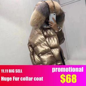 Big sale Large collar Women Winter Coat Big Fur Hooded bomber jacket reversible down coat