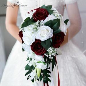 Şelale Düğün Gelin Buket Nedime El Bağlı Çiçek Dekor Ev Tatil Parti Malzemeleri Avrupa Gül Düğün Çiçekleri Hediye 201102