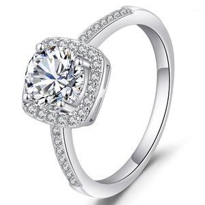 Gran venta Anillos de joyería de plata esterlina originales para mujeres Plaza 2 VVS1 Joyas de diamante Bizuteria Silver 925 Ring1