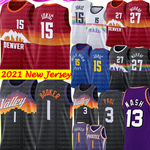 2021 Nikola 15 New Jokic Jersey Devin 1 Booker Jersey Chris 3 Paul Jamal 27 Murray DenverJersey di pallacanestro Steve 13 Nash Jersey