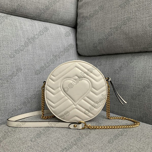 Mini ronde Marmont Chains Sac à bandoulière en cuir femme Crossbody Crossbody Sacs Circulaires Sacs Circuler Brand Sac à main Portefeuilles 550154