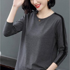 Women T shirt Girl Casual Patchwork Color Block O neck Long Sleeve T shirt Blusas Women Tops Fashion Clothes DD8238
