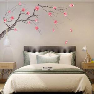 Chinease colore rosa di stile della prugna parete autoadesivi ramo di albero Stickers murali per Soggiorno Camera da letto Sala Lettura PVC Stickers murale
