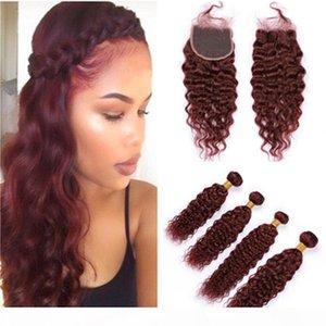Бургундские пачки для волос и закрытие 99J вина красный бразильский мокрый и волнистые человеческие волосы плетения 4 со с кружевными волосами наращивание воды.