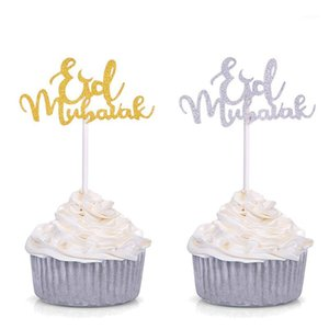 Eid Ramadan Festival Bunting Islâmico Muçulmano MuBarak Party Decoração Gold Silver Glitter Eid Mubarak Cupcake Toppers1