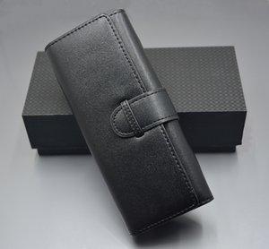 Caja de pluma de cuero negra de lujo doble titular de la pluma de alta calidad de papelería de la oficina de la oficina de la oficina de la oficina bolsa de pluma como regalo