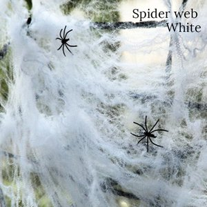 2020 New Halloween Horror Party Scene Props White Elastic Spider Web Spider Web Horror Decoration Bar Haunted House