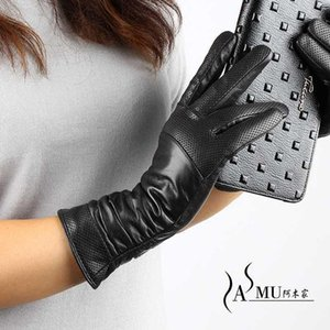 Women Long Leather Gloves New female Winter Fashion Black Leather Gloves Women Keep Warm Long Special Offer Free shipping1