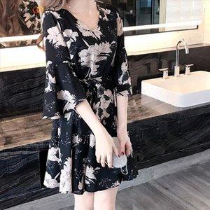 dress Fashion Women Printing Knee Length Half Flare Sleeve Summer Dress V Neck Loose Elegant new dress women 2019MAY23