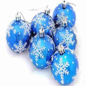 6 pz / lotto una varietà di tipi decorazioni natalizie pittura palle festival festival forniture natale albero pendente fiocco di neve palla rotonda gwf3778
