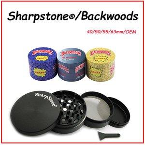 Alta Qualidade Sharpstone Herb Forbal Moedores 4 Camadas 40/50/55 / 63mm Metal Liga de Zinco Diâmetro 7 Cores Arco-íris Backwoods OEM Logotipo